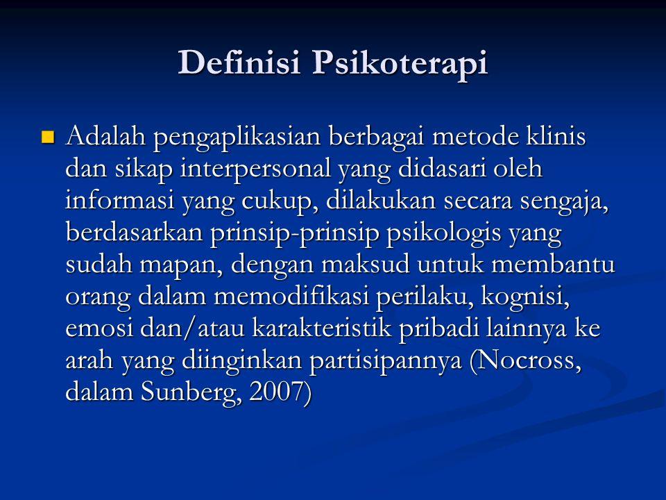 Definisi Psikoterapi Adalah pengaplikasian berbagai metode klinis dan sikap interpersonal yang didasari oleh informasi yang cukup, dilakukan secara sengaja, berdasarkan prinsip-prinsip psikologis yang sudah mapan, dengan maksud untuk membantu orang dalam memodifikasi perilaku, kognisi, emosi dan/atau karakteristik pribadi lainnya ke arah yang diinginkan partisipannya (Nocross, dalam Sunberg, 2007) Adalah pengaplikasian berbagai metode klinis dan sikap interpersonal yang didasari oleh informasi yang cukup, dilakukan secara sengaja, berdasarkan prinsip-prinsip psikologis yang sudah mapan, dengan maksud untuk membantu orang dalam memodifikasi perilaku, kognisi, emosi dan/atau karakteristik pribadi lainnya ke arah yang diinginkan partisipannya (Nocross, dalam Sunberg, 2007)