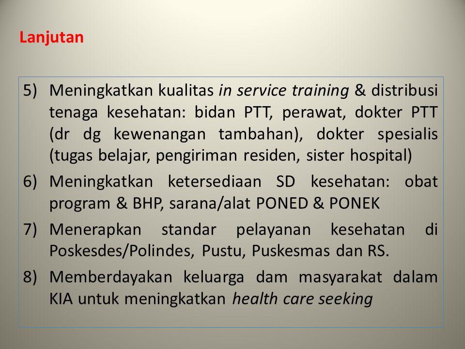 Lanjutan 5)Meningkatkan kualitas in service training & distribusi tenaga kesehatan: bidan PTT, perawat, dokter PTT (dr dg kewenangan tambahan), dokter