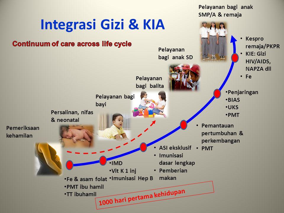 Integrasi Gizi & KIA Pemeriksaan kehamilan Persalinan, nifas & neonatal Pelayanan bagi bayi Pelayanan bagi balita Pelayanan bagi anak SD Pelayanan bag