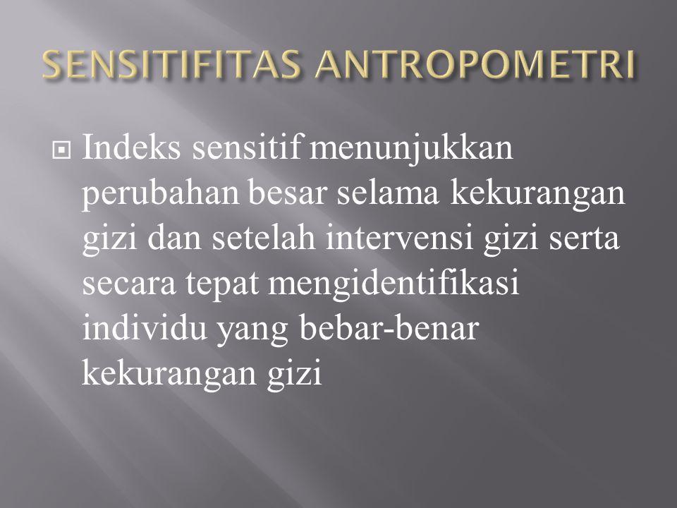  Baik sensitifitas dan spesifisitas sebuah indeks antropometri adalah bervariasi menurut usia, cutoff point yang digunakan, dan keparahan serta prevalensi masalah gizi dalam populasi.