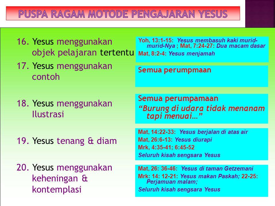 12. Yesus menggunakan perumpamaan (cerita) 13. Yesus menggunakan metafor (perbandingan) 14. Yesus menggunakan hiperbola 15. Yesus memperagakan (demont