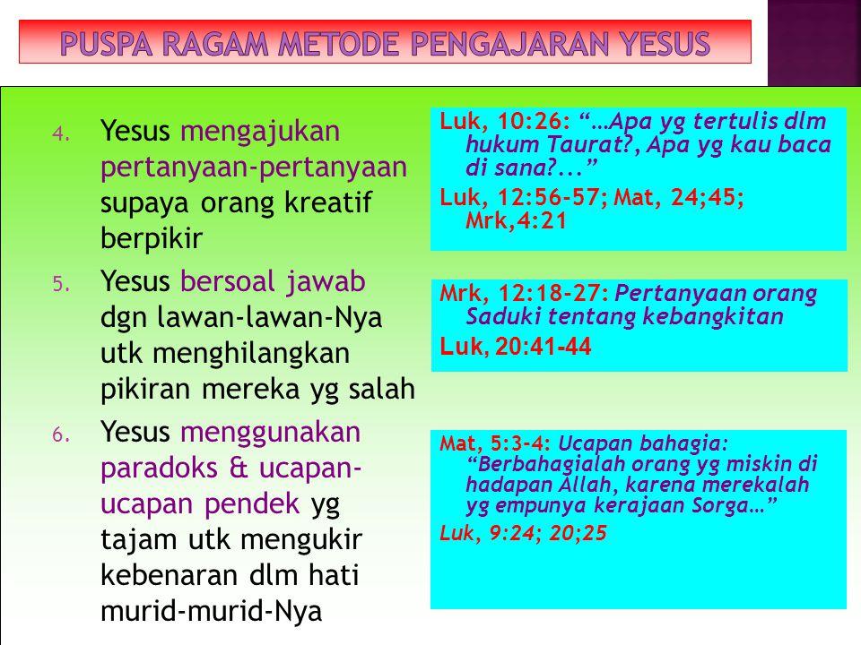 1. Yesus membaca/mengutib Kitab Suci PL – menggunakan sumber yg jelas (biblis) & menerangkannya (lukas 2. Yesus megajar di lapangan terbuka 3. Yesus b