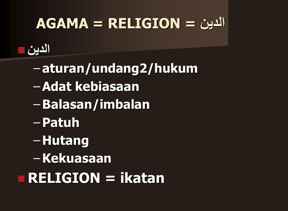 AGAMA = RELIGION = الدين الدين –a–a–a–aturan/undang2/hukum –A–A–A–Adat kebiasaan –B–B–B–Balasan/imbalan –P–P–P–Patuh –H–H–H–Hutang –K–K–K–Kekuasaan RELIGION = ikatan