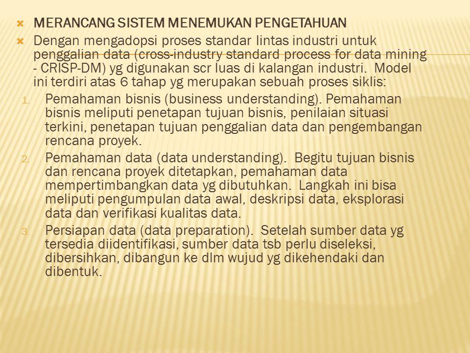  MERANCANG SISTEM MENEMUKAN PENGETAHUAN  Dengan mengadopsi proses standar lintas industri untuk penggalian data (cross-industry standard process for data mining - CRISP-DM) yg digunakan scr luas di kalangan industri.
