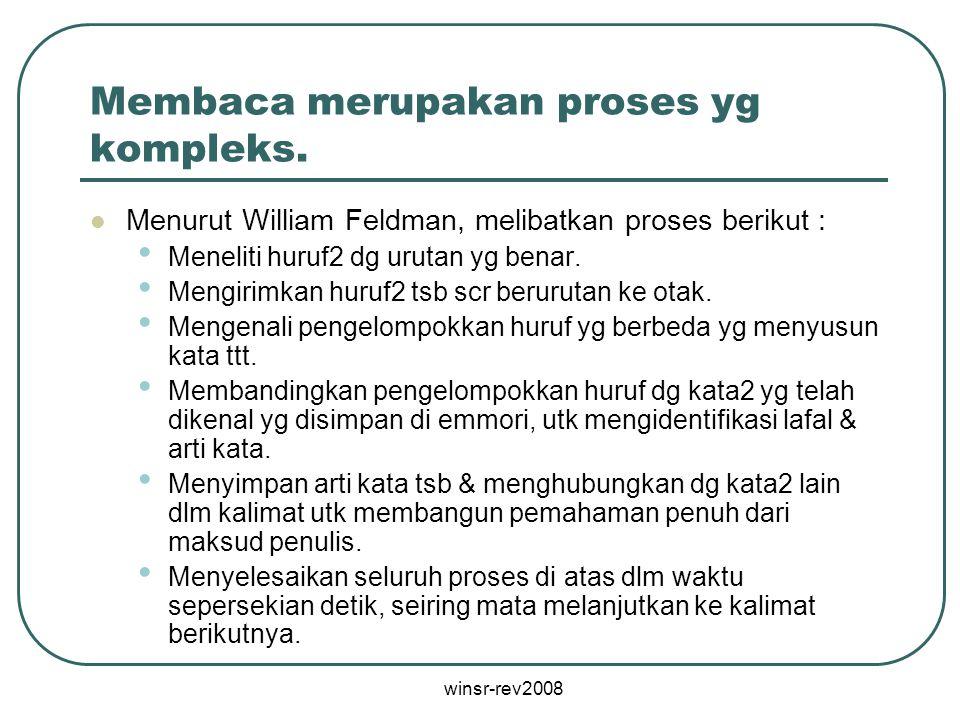 winsr-rev2008 Membaca merupakan proses yg kompleks. Menurut William Feldman, melibatkan proses berikut : Meneliti huruf2 dg urutan yg benar. Mengirimk