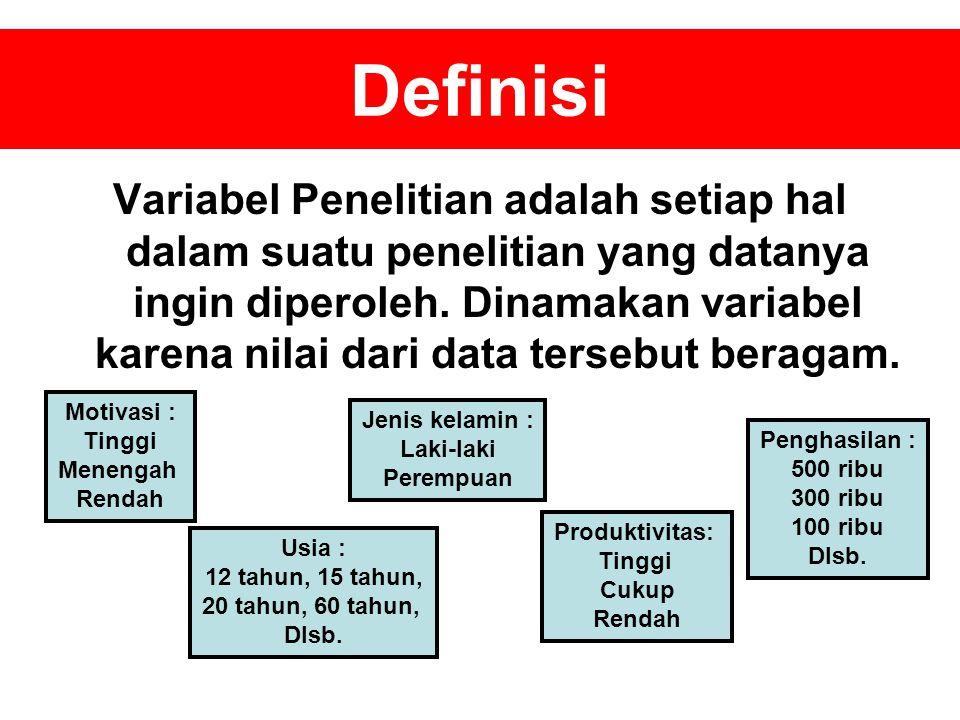 Definisi Variabel Penelitian adalah setiap hal dalam suatu penelitian yang datanya ingin diperoleh.