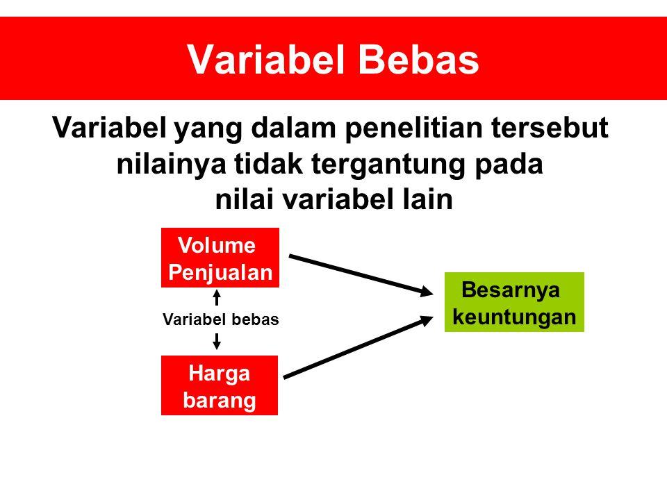 Variabel Bebas Variabel yang dalam penelitian tersebut nilainya tidak tergantung pada nilai variabel lain Volume Penjualan Harga barang Besarnya keuntungan Variabel bebas