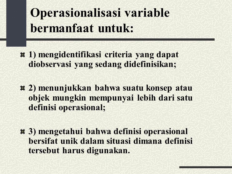 Operasionalisasi variable bermanfaat untuk: 1) mengidentifikasi criteria yang dapat diobservasi yang sedang didefinisikan; 2) menunjukkan bahwa suatu
