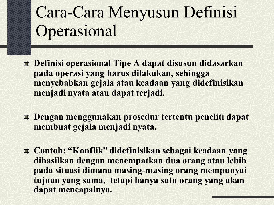 Cara-Cara Menyusun Definisi Operasional Definisi operasional Tipe A dapat disusun didasarkan pada operasi yang harus dilakukan, sehingga menyebabkan g