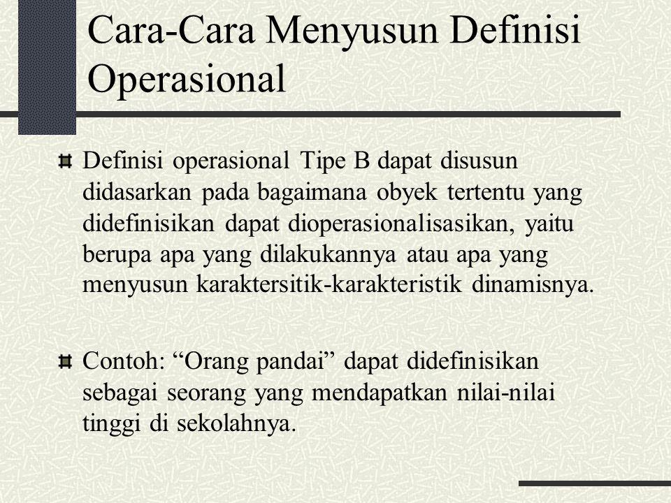 Cara-Cara Menyusun Definisi Operasional Definisi operasional Tipe B dapat disusun didasarkan pada bagaimana obyek tertentu yang didefinisikan dapat di
