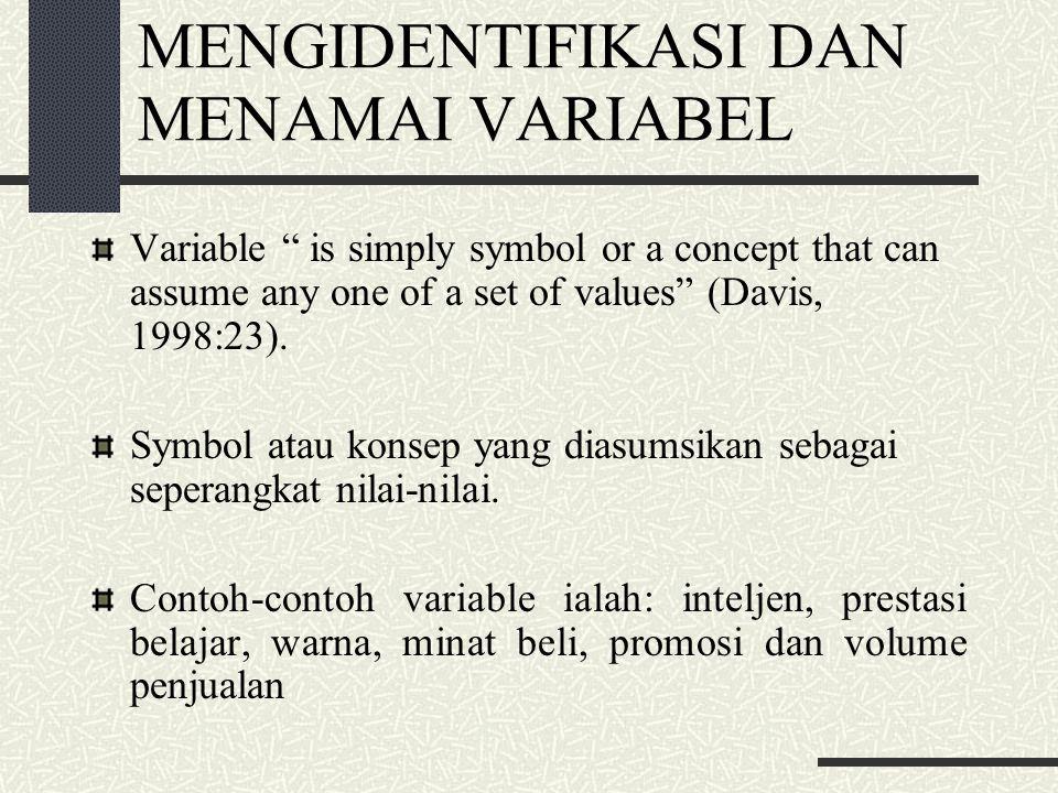 Tipe-Tipe Variabel Variabel Bebas (Independent variable) Variabel bebas merupakan variable stimulus atau variable yang mempengaruhi variable lain.