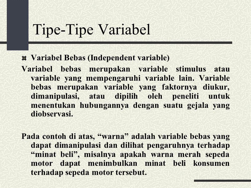 Tipe-Tipe Variabel Variabel Tergantung (dependent variable) Variabel tergantung adalah variable yang memberikan reaksi/respon jika dihubungkan dengan varibel bebas.