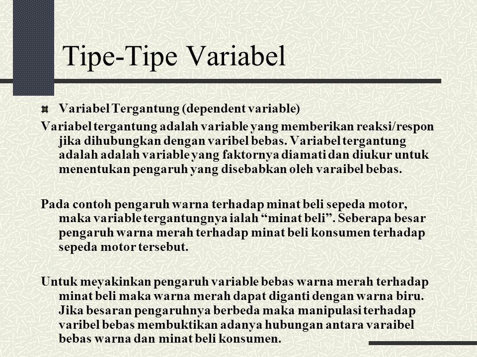 Tipe-Tipe Variabel Variabel Tergantung (dependent variable) Variabel tergantung adalah variable yang memberikan reaksi/respon jika dihubungkan dengan