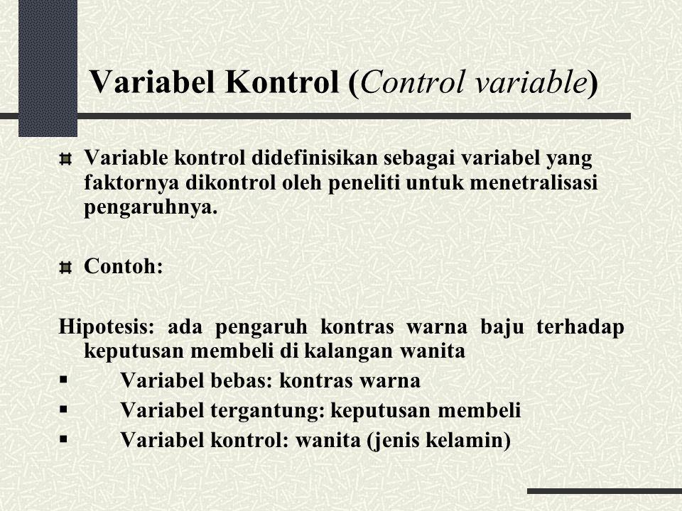 Variabel Kontrol (Control variable) Variable kontrol didefinisikan sebagai variabel yang faktornya dikontrol oleh peneliti untuk menetralisasi pengaru