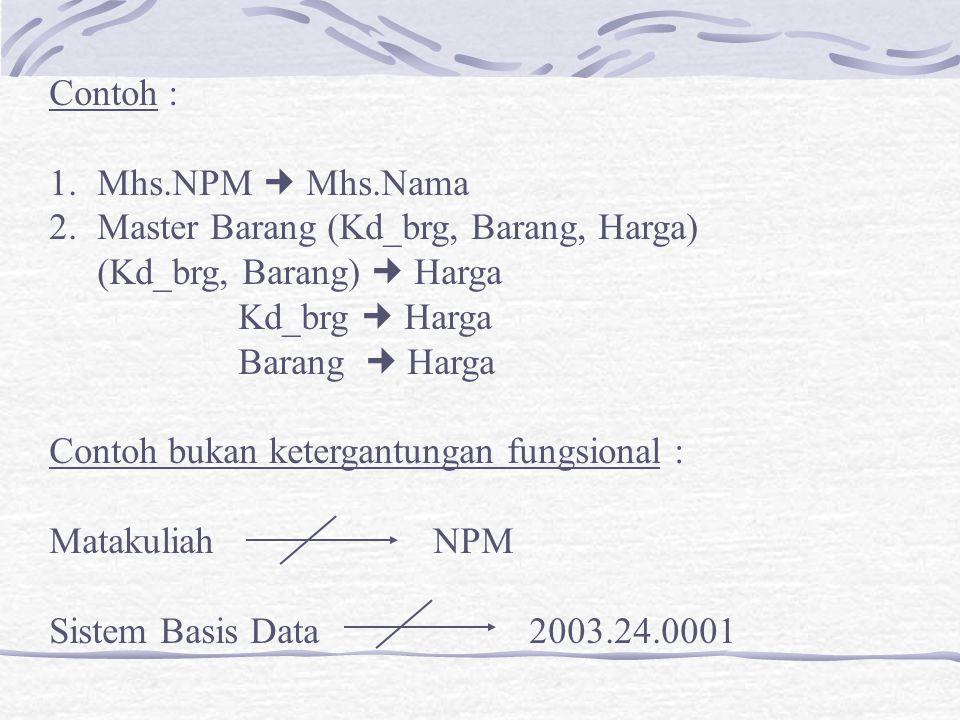 Contoh : 1.Mhs.NPM Mhs.Nama 2.Master Barang (Kd_brg, Barang, Harga) (Kd_brg, Barang) Harga Kd_brg Harga Barang Harga Contoh bukan ketergantungan fungs