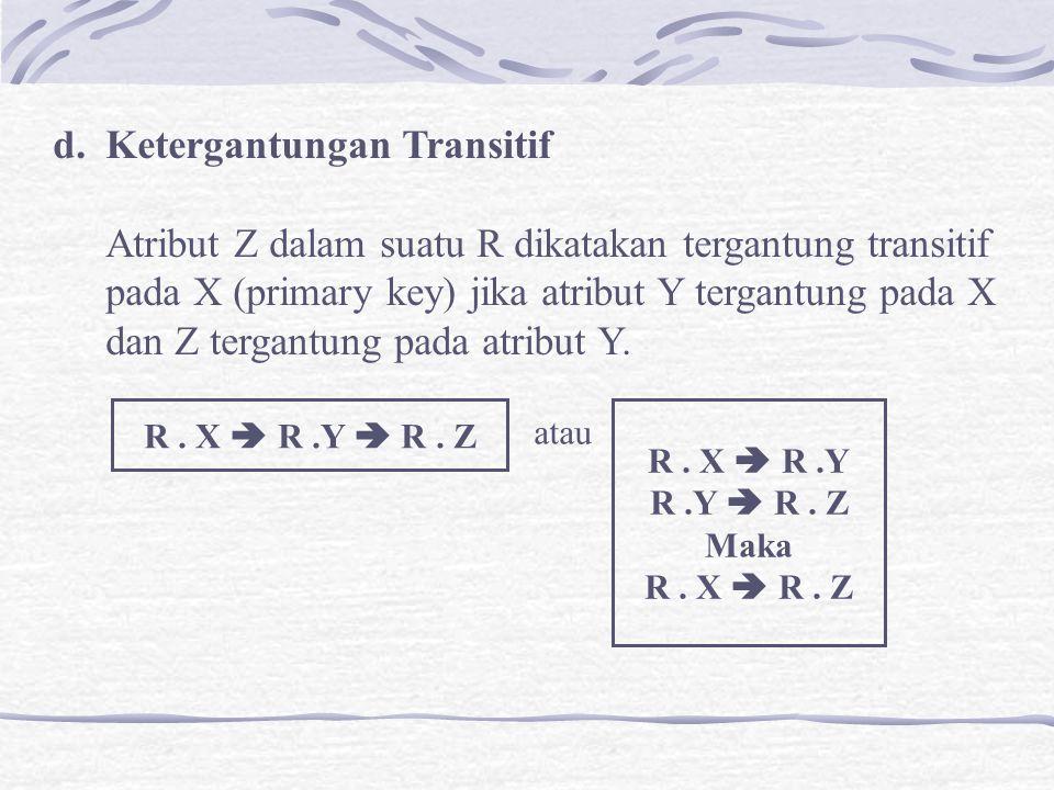 d.Ketergantungan Transitif Atribut Z dalam suatu R dikatakan tergantung transitif pada X (primary key) jika atribut Y tergantung pada X dan Z tergantu