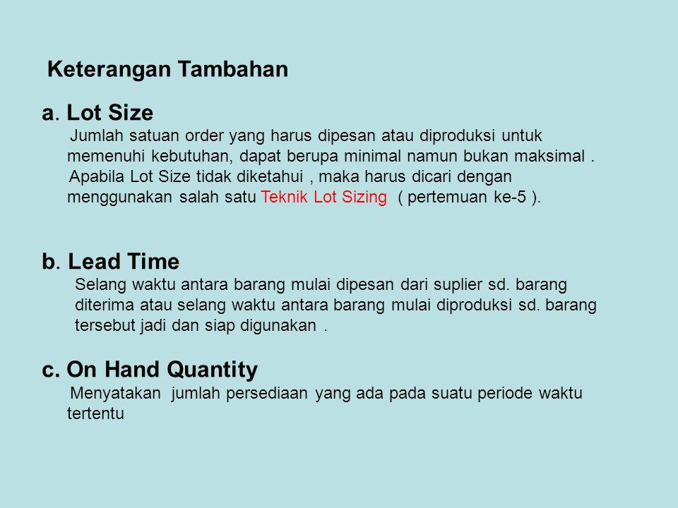 a. Lot Size Jumlah satuan order yang harus dipesan atau diproduksi untuk memenuhi kebutuhan, dapat berupa minimal namun bukan maksimal. Apabila Lot Si