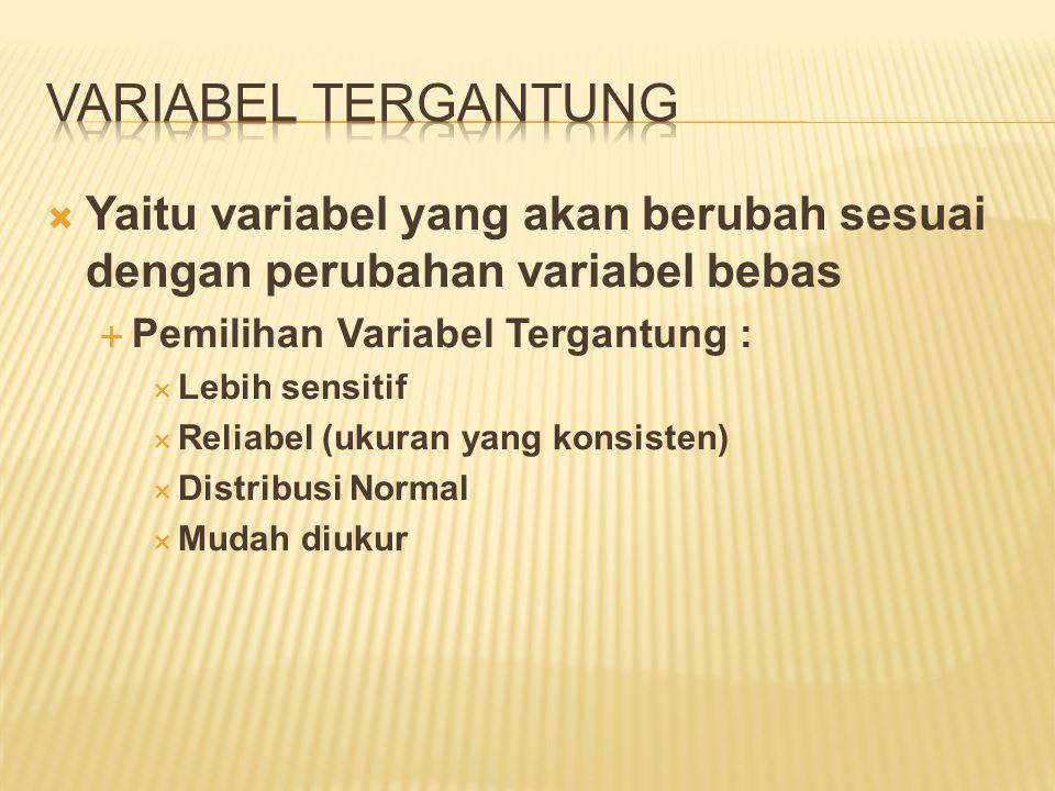  Yaitu variabel yang akan berubah sesuai dengan perubahan variabel bebas  Pemilihan Variabel Tergantung :  Lebih sensitif  Reliabel (ukuran yang k