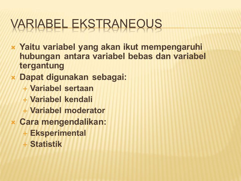  Yaitu variabel yang akan ikut mempengaruhi hubungan antara variabel bebas dan variabel tergantung  Dapat digunakan sebagai:  Variabel sertaan  Va