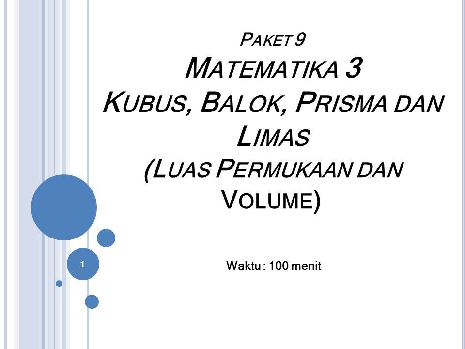 VOLUME LIMAS Untuk menghitung volume limas tergantung dari bentuk alasnya Rumus 8.