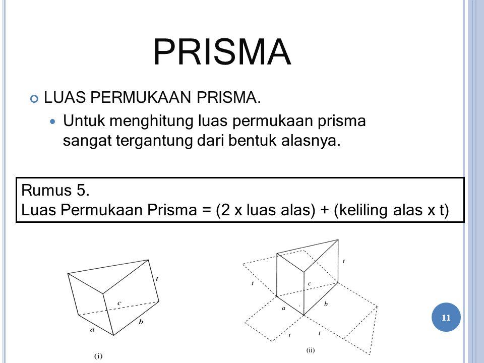 PRISMA LUAS PERMUKAAN PRISMA. Untuk menghitung luas permukaan prisma sangat tergantung dari bentuk alasnya. Rumus 5. Luas Permukaan Prisma = (2 x luas