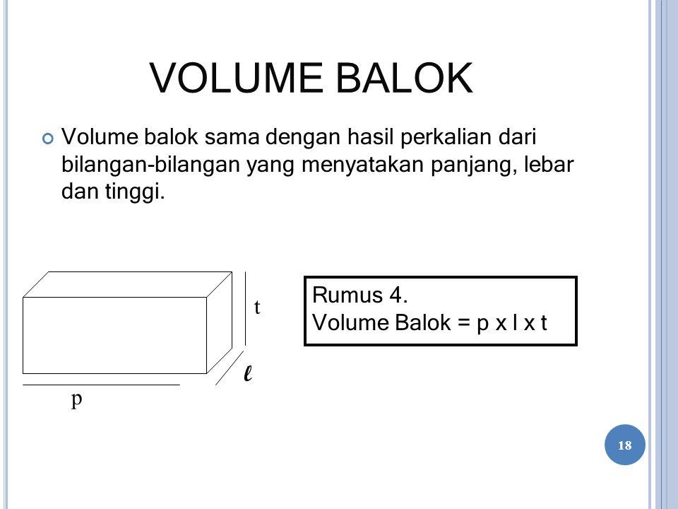VOLUME BALOK Volume balok sama dengan hasil perkalian dari bilangan-bilangan yang menyatakan panjang, lebar dan tinggi. Rumus 4. Volume Balok = p x l