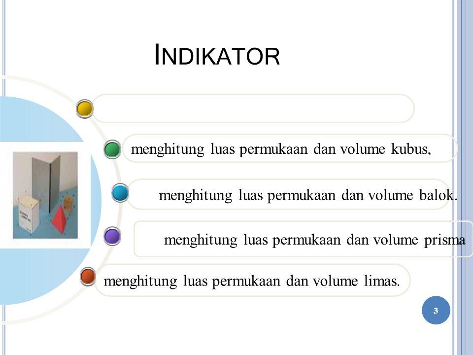 I NDIKATOR menghitung luas permukaan dan volume limas. menghitung luas permukaan dan volume prisma menghitung luas permukaan dan volume balok.. menghi