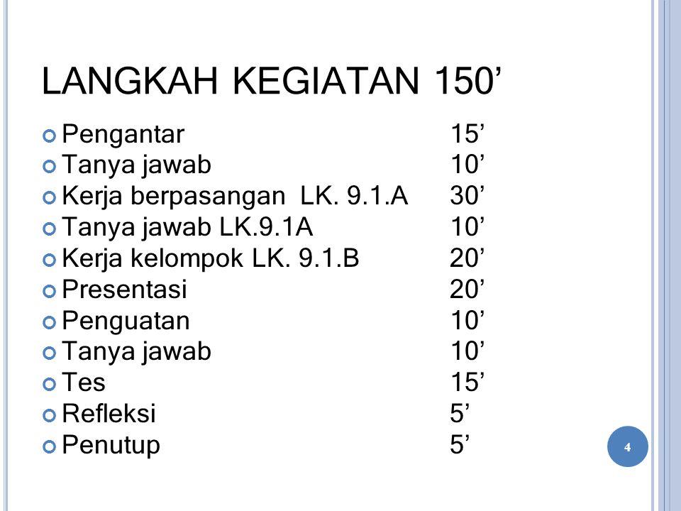 LANGKAH KEGIATAN 150' Pengantar 15' Tanya jawab 10' Kerja berpasangan LK. 9.1.A30' Tanya jawab LK.9.1A10' Kerja kelompok LK. 9.1.B 20' Presentasi 20'