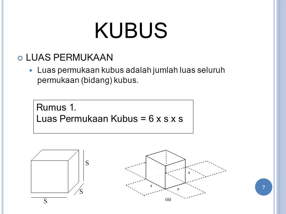 KUBUS LUAS PERMUKAAN Luas permukaan kubus adalah jumlah luas seluruh permukaan (bidang) kubus. Rumus 1. Luas Permukaan Kubus = 6 x s x s S S S 7