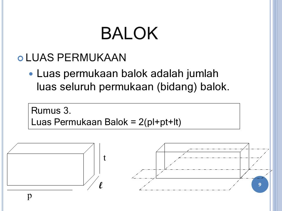 BALOK LUAS PERMUKAAN Luas permukaan balok adalah jumlah luas seluruh permukaan (bidang) balok. t l p Rumus 3. Luas Permukaan Balok = 2(pl+pt+lt) 9