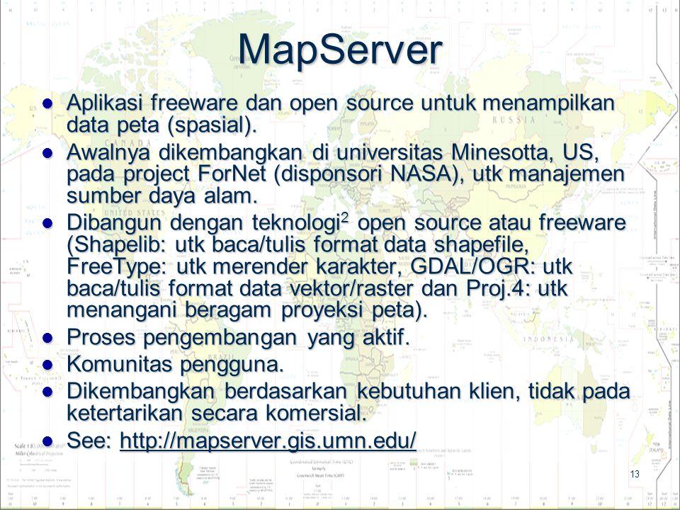 13 MapServer Aplikasi freeware dan open source untuk menampilkan data peta (spasial). Aplikasi freeware dan open source untuk menampilkan data peta (s