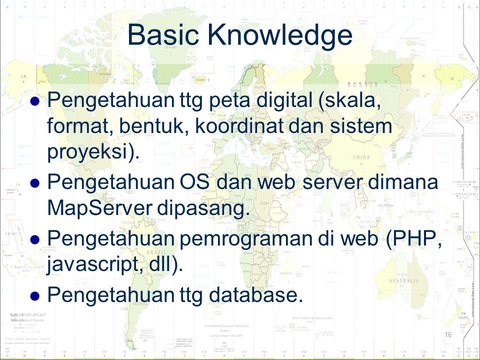16 Basic Knowledge Pengetahuan ttg peta digital (skala, format, bentuk, koordinat dan sistem proyeksi). Pengetahuan ttg peta digital (skala, format, b