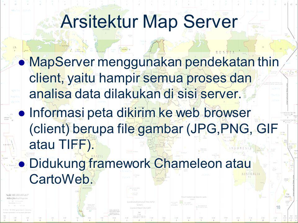 18 Arsitektur Map Server MapServer menggunakan pendekatan thin client, yaitu hampir semua proses dan analisa data dilakukan di sisi server. MapServer