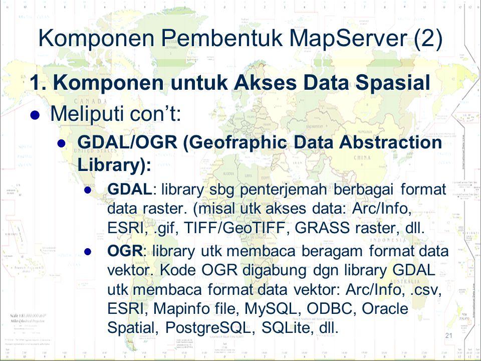 21 Komponen Pembentuk MapServer (2) 1. Komponen untuk Akses Data Spasial Meliputi con't: Meliputi con't: GDAL/OGR (Geofraphic Data Abstraction Library