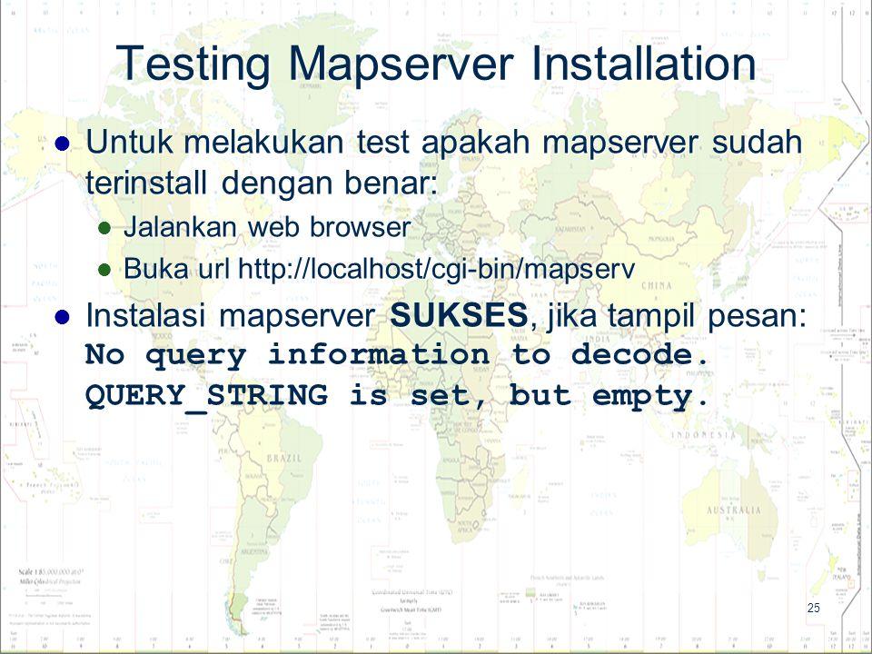 25 Testing Mapserver Installation Untuk melakukan test apakah mapserver sudah terinstall dengan benar: Untuk melakukan test apakah mapserver sudah ter