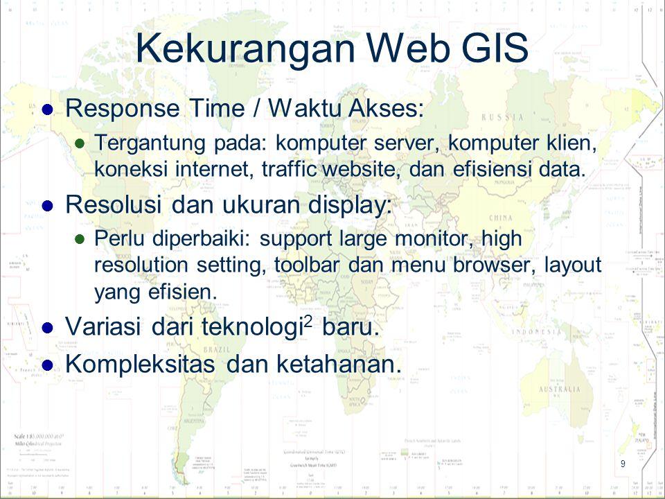 9 Kekurangan Web GIS Response Time / Waktu Akses: Response Time / Waktu Akses: Tergantung pada: komputer server, komputer klien, koneksi internet, tra
