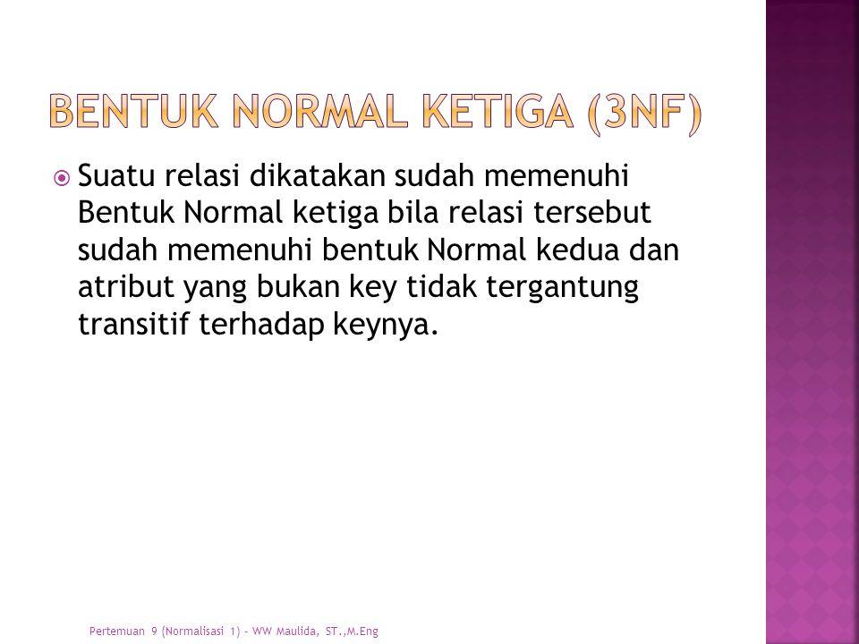  Suatu relasi dikatakan sudah memenuhi Bentuk Normal ketiga bila relasi tersebut sudah memenuhi bentuk Normal kedua dan atribut yang bukan key tidak