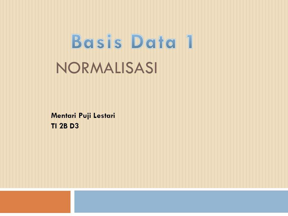 NORMALISASI Normalisasi adalah suatu teknik untuk meng- organisasi data ke dalam tabel-tabel untuk me- menuhi kebutuhan pemakai di dalam suatu organisasi.
