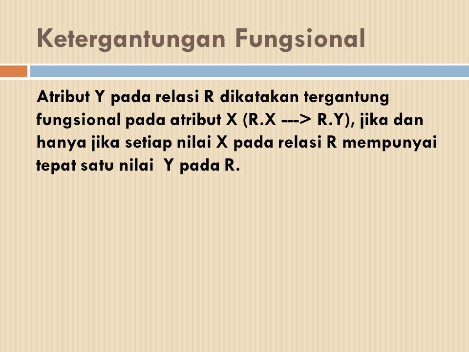 Ketergantungan Fungsional Penuh  Atribut Y pada relasi R dikatakan tergantung fungsional penuh pada atribut X pada relasi R, jika Y tidak tergantung pada subset dari X ( bila X adalah key gabungan)   Contoh :  KIRIM-BARANG( No-pem, Na-pem, No-bar, Jumlah)