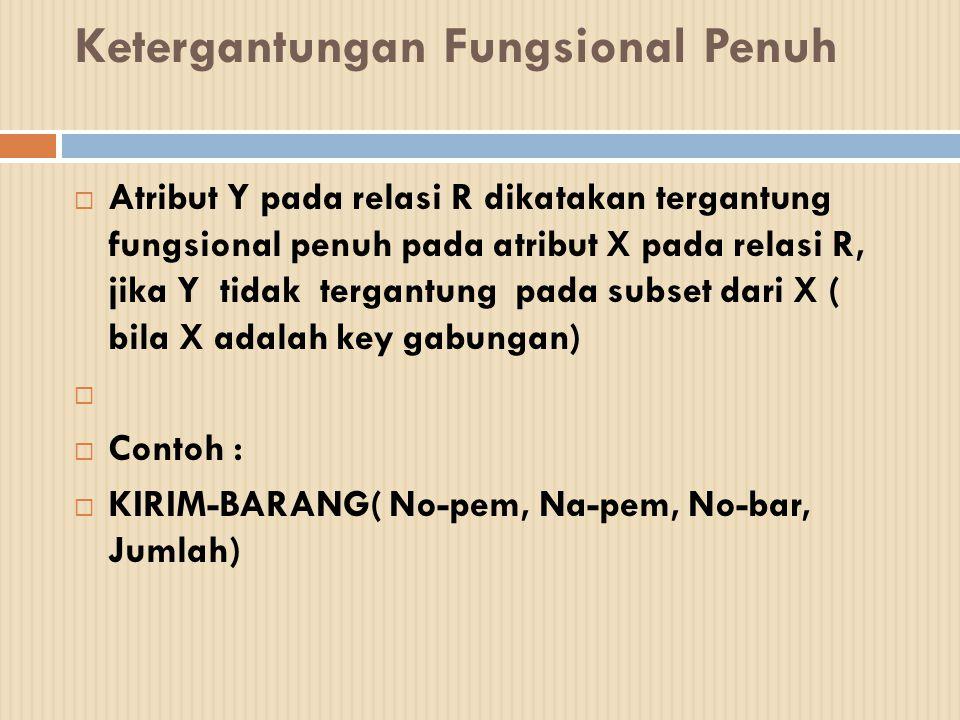  Ketergantungan fungsional :  No-pem --> Na-pem  No-bar, No-pem --> Jumlah
