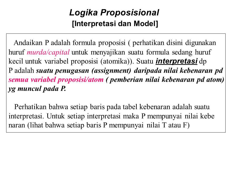 Logika Proposisional [Interpretasi dan Model] Andaikan P adalah formula proposisi ( perhatikan disini digunakan huruf murda/capital untuk menyajikan s