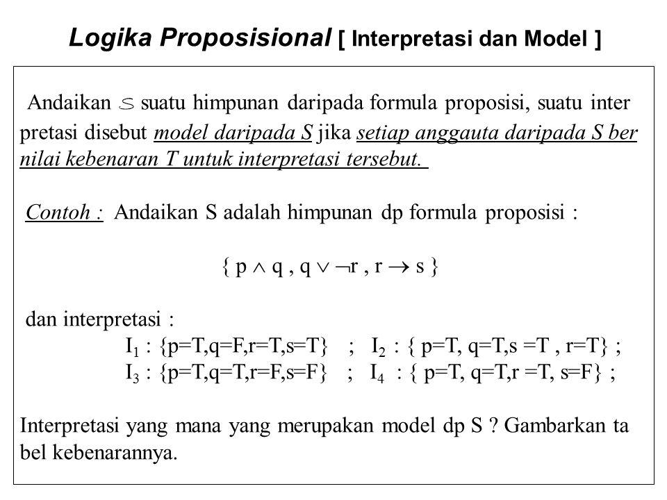 Logika Proposisional [ Interpretasi dan Model ] Andaikan S suatu himpunan daripada formula proposisi, suatu inter pretasi disebut model daripada S jik