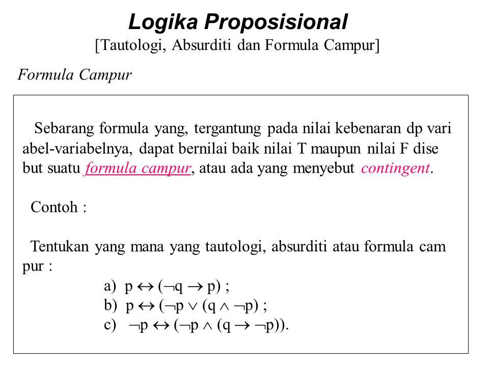 Logika Proposisional [Tautologi, Absurditi dan Formula Campur] Sebarang formula yang, tergantung pada nilai kebenaran dp vari abel-variabelnya, dapat