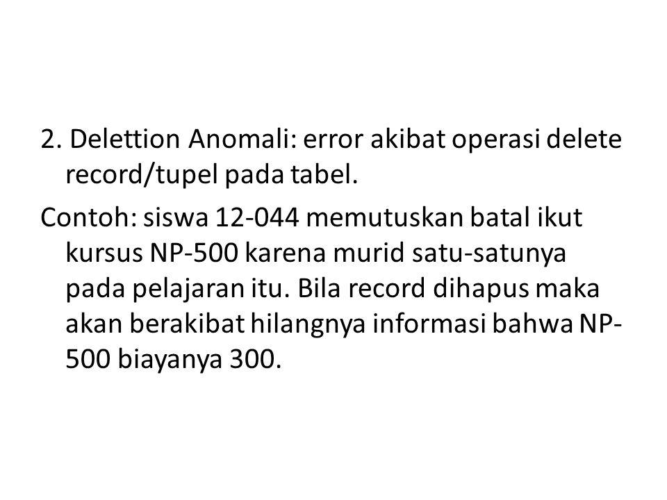 2. Delettion Anomali: error akibat operasi delete record/tupel pada tabel. Contoh: siswa 12-044 memutuskan batal ikut kursus NP-500 karena murid satu-