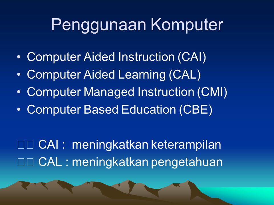 Penggunaan Komputer Computer Aided Instruction (CAI) Computer Aided Learning (CAL) Computer Managed Instruction (CMI) Computer Based Education (CBE) C