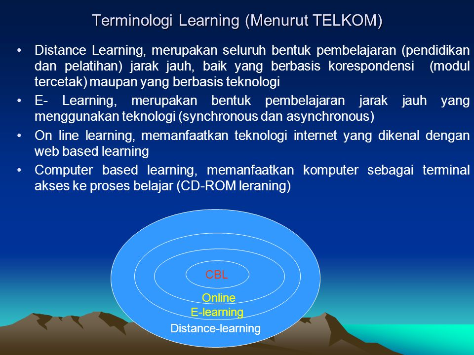 Distance-learning E-learning Online Terminologi Learning (Menurut TELKOM) Distance Learning, merupakan seluruh bentuk pembelajaran (pendidikan dan pel