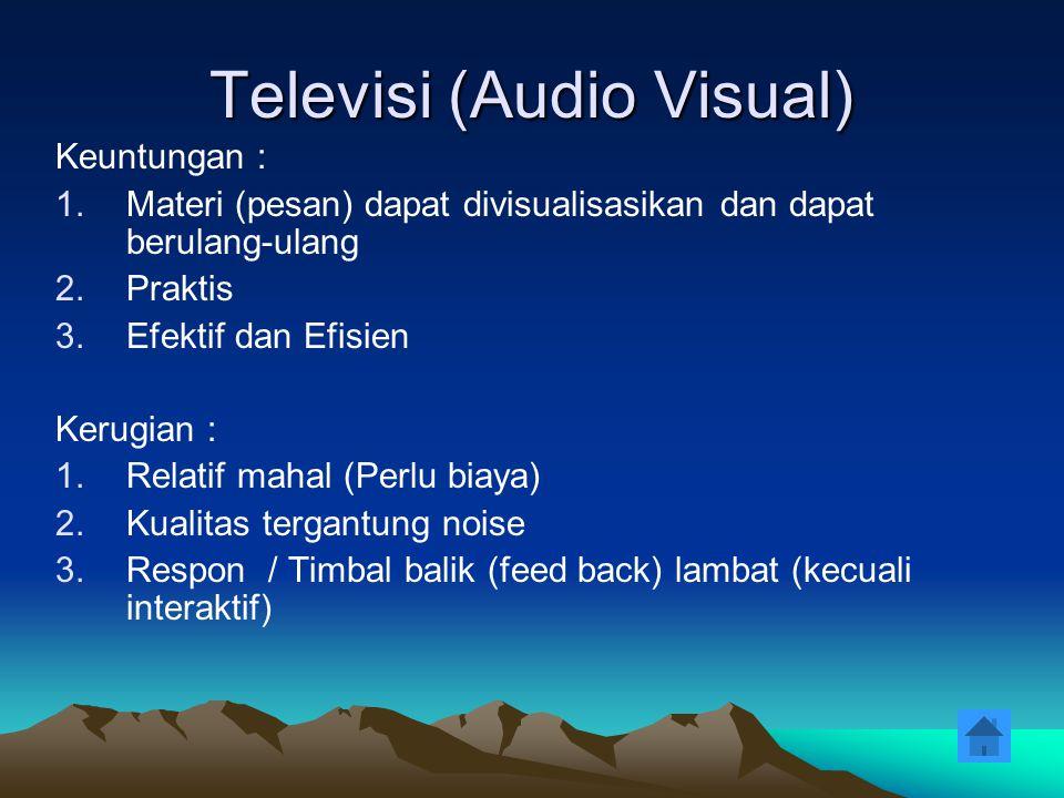 Televisi (Audio Visual) Keuntungan : 1.Materi (pesan) dapat divisualisasikan dan dapat berulang-ulang 2.Praktis 3.Efektif dan Efisien Kerugian : 1.Rel