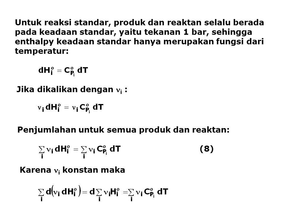 Untuk reaksi standar, produk dan reaktan selalu berada pada keadaan standar, yaitu tekanan 1 bar, sehingga enthalpy keadaan standar hanya merupakan fu