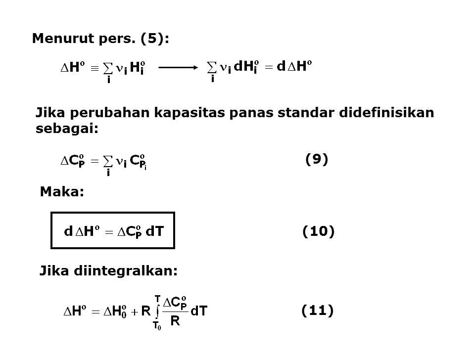 Menurut pers. (5): Jika perubahan kapasitas panas standar didefinisikan sebagai: (9) Maka: (10) Jika diintegralkan: (11)