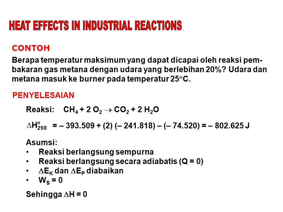 CONTOH Berapa temperatur maksimum yang dapat dicapai oleh reaksi pem- bakaran gas metana dengan udara yang berlebihan 20%? Udara dan metana masuk ke b
